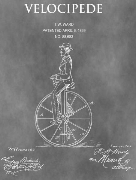 Mixed Media - 1869 Velocipede Patent by Dan Sproul