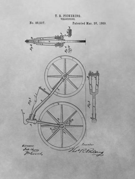 Drawing - 1869 Velocipede Patent Drawing by Dan Sproul