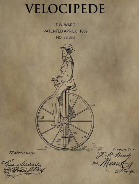 Digital Art - 1869 Velocipede Unicycle Patent by Dan Sproul