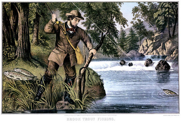 Wall Art - Painting - 1870s Brook Trout Fishing - Currier & by Vintage Images