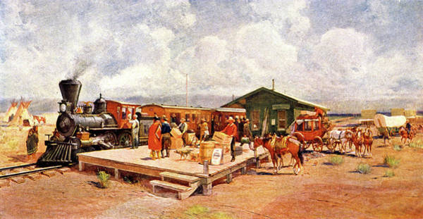 Vintage Train Painting - 1870s Early Railroad Commerce Travel by Vintage Images
