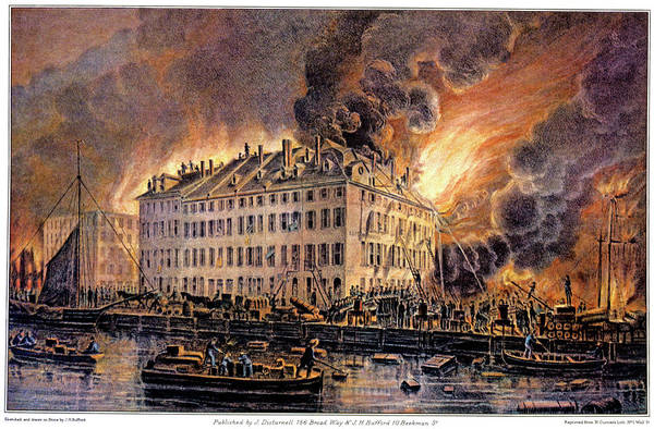 Currier And Ives Painting - 1870s Great Fire At Boston By H.j by Vintage Images