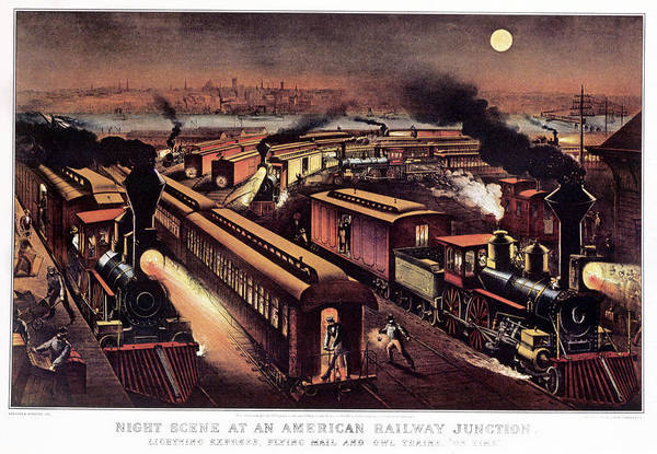Wall Art - Painting - 1870s Night Scene At An American by Vintage Images