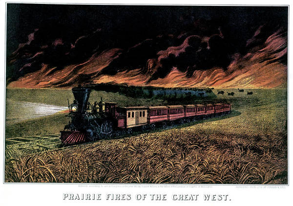 Nathaniel Photograph - 1870s Prairie Fires Of The Great West - by Animal Images