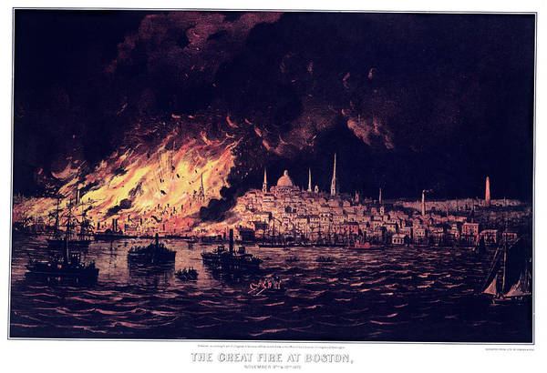 Currier And Ives Painting - 1870s The Great Fire At Boston - by Vintage Images