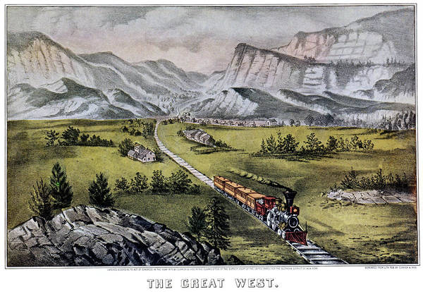 Currier And Ives Painting - 1870s The Great West - Currier & Ives by Vintage Images