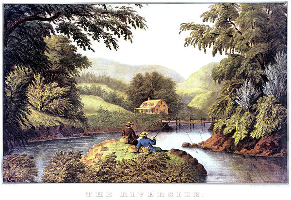Wall Art - Painting - 1870s The Riverside - Painting By F F by Vintage Images