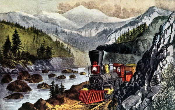 Currier And Ives Painting - 1870s The Route To California - Truckee by Vintage Images