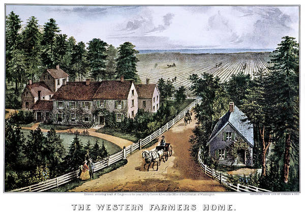 Currier And Ives Painting - 1870s The Western Farmers Home - by Vintage Images