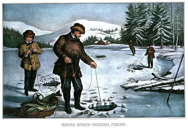 Currier And Ives Painting - 1870s Winter Sports Pickerel Fishing - by Vintage Images