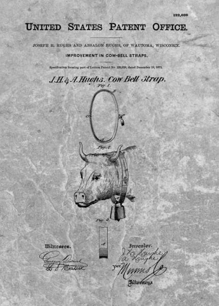 Drawing - 1871 Cow Bell Patent by Dan Sproul