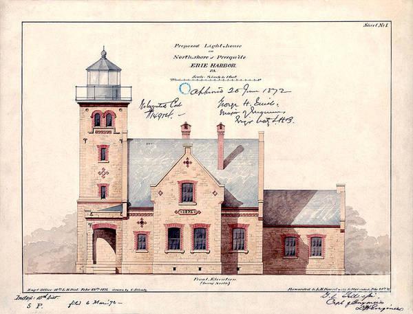 Historic Drawing - 1872 Erie Harbor Lighthouse by Jon Neidert