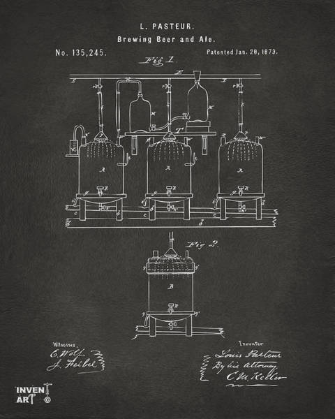 Patent Drawing Wall Art - Digital Art - 1873 Brewing Beer And Ale Patent Artwork - Gray by Nikki Marie Smith