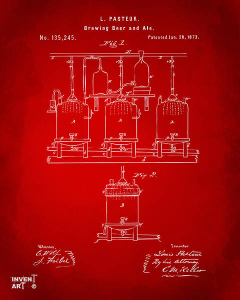 Brewery Digital Art - 1873 Brewing Beer And Ale Patent Artwork - Red by Nikki Marie Smith