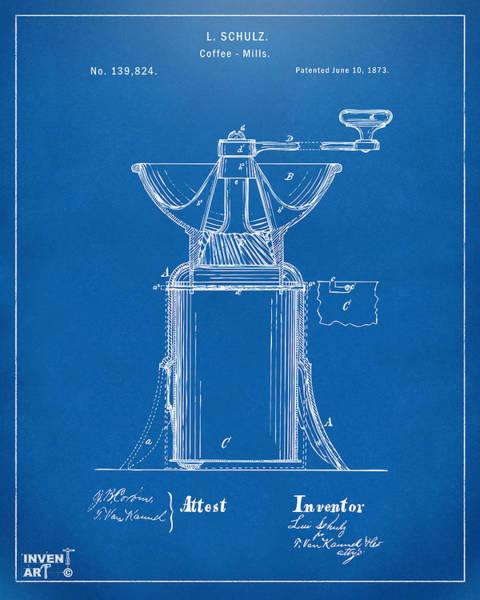 Wall Art - Digital Art - 1873 Coffee Mills Patent Artwork Blueprint by Nikki Marie Smith