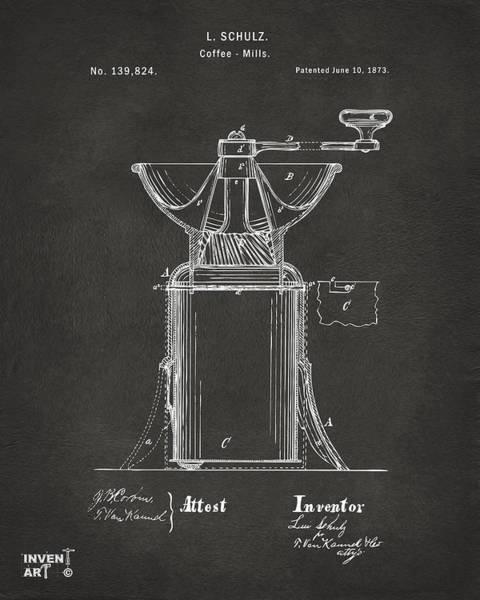 Wall Art - Digital Art - 1873 Coffee Mills Patent Artwork Gray by Nikki Marie Smith
