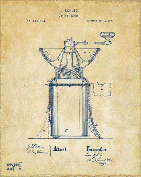 Wall Art - Digital Art - 1873 Coffee Mills Patent Artwork Vintage by Nikki Marie Smith
