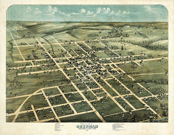 Birds Of Texas Photograph - 1873 Vintage Map Of Brenham Texas by Stephen Stookey