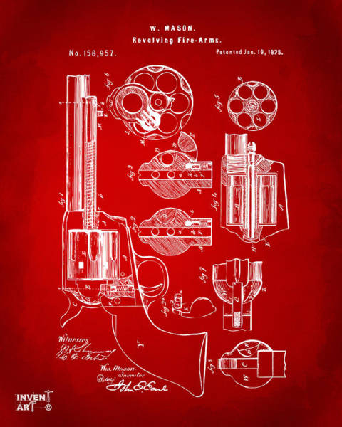 Digital Art - 1875 Colt Peacemaker Revolver Patent Red by Nikki Marie Smith