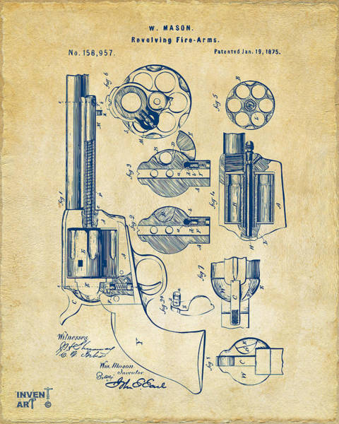 Den Digital Art - 1875 Colt Peacemaker Revolver Patent Vintage by Nikki Marie Smith