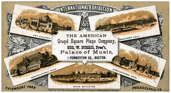 Musical Theme Painting - 1876 American Grand Square Piano Company by Historic Image