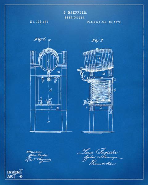 Wall Art - Digital Art - 1876 Beer Keg Cooler Patent Artwork Blueprint by Nikki Marie Smith