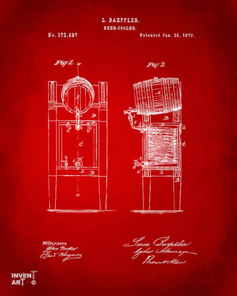 Brewery Digital Art - 1876 Beer Keg Cooler Patent Artwork Red by Nikki Marie Smith