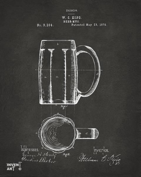 Wall Art - Digital Art - 1876 Beer Mug Patent Artwork - Gray by Nikki Marie Smith