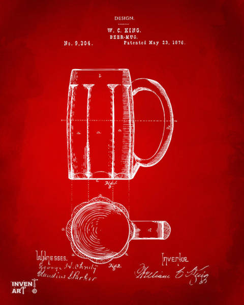 Wall Art - Digital Art - 1876 Beer Mug Patent Artwork - Red by Nikki Marie Smith