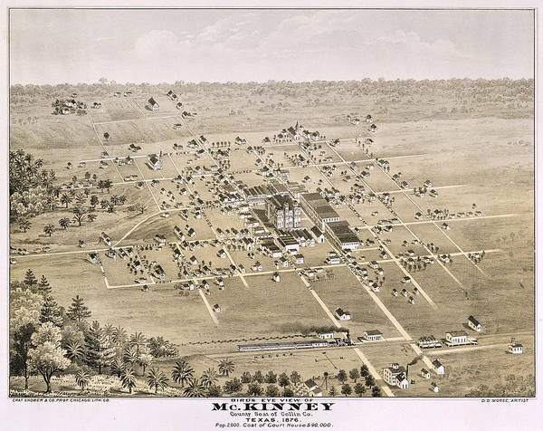 Tc Photograph - 1876 Birds Eye Map Of Mckinney Texas by Stephen Stookey