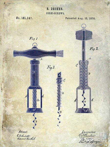 Cigar Photograph - 1876 Corkscrew Patent Drawing 2 Tone by Jon Neidert