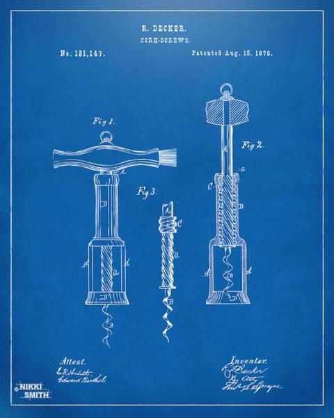 Wall Art - Digital Art - 1876 Wine Corkscrews Patent Artwork - Blueprint by Nikki Marie Smith