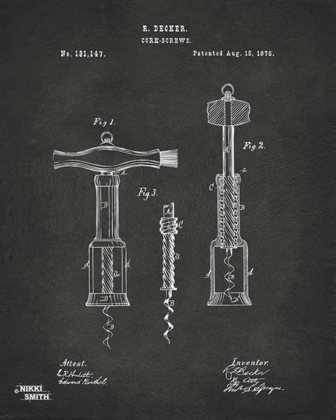Wall Art - Digital Art - 1876 Wine Corkscrews Patent Artwork - Gray by Nikki Marie Smith