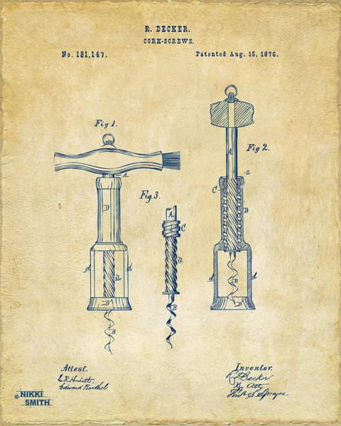 Wall Art - Digital Art - 1876 Wine Corkscrews Patent Artwork - Vintage by Nikki Marie Smith