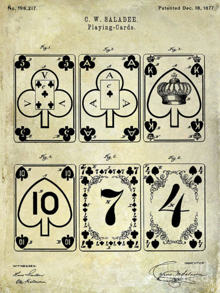 Sin Photograph - 1877 Playing Cards Patent Drawing  by Jon Neidert