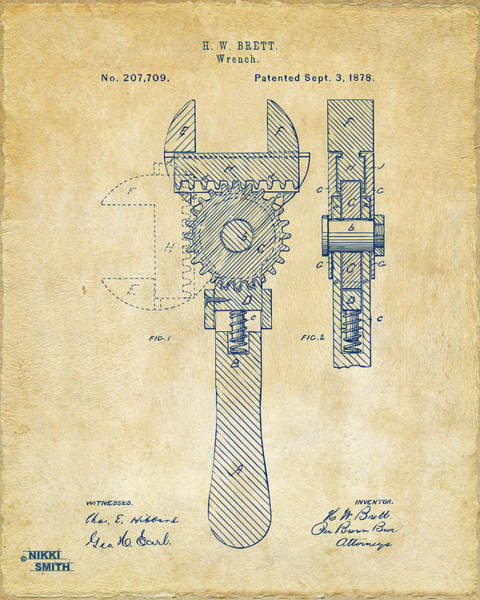 Father Digital Art - 1878 Adjustable Wrench Patent Artwork - Vintage by Nikki Marie Smith