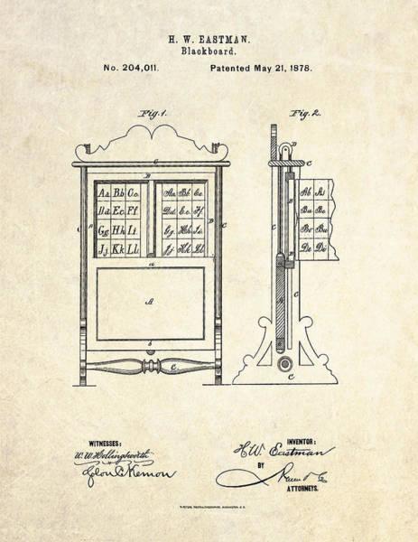 Math Drawing - 1878 Blackboard Patent Art by Gary Bodnar