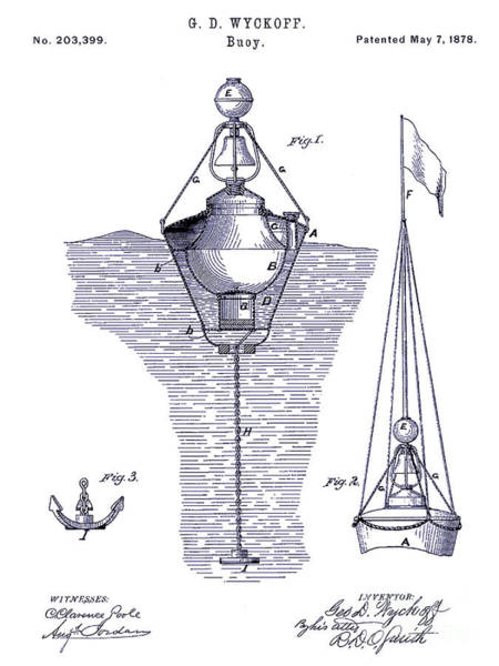 Vintage Patent Drawing - 1878 Buoy Patent Drawing Blueprint  by Jon Neidert