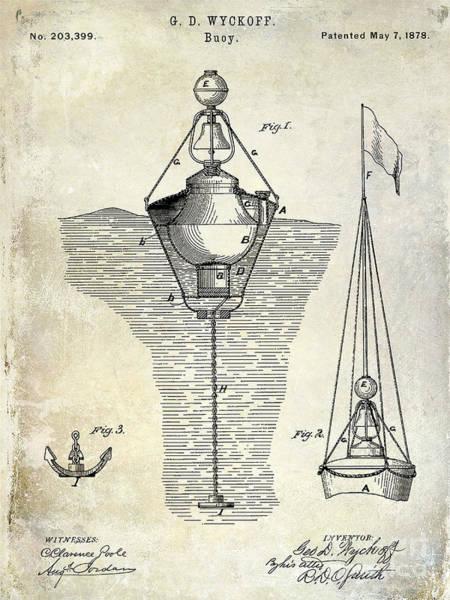Patent Drawing - 1878 Buoy Patent Drawing by Jon Neidert