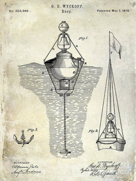 Vintage Patent Drawing - 1878 Buoy Patent Drawing by Jon Neidert