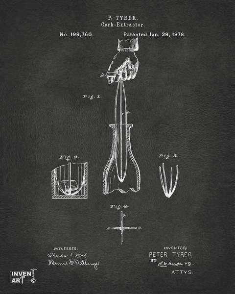 Wall Art - Digital Art - 1878 Cork Extractor Patent Artwork - Gray by Nikki Marie Smith