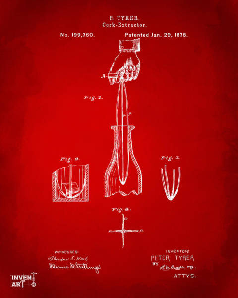 Wall Art - Digital Art - 1878 Cork Extractor Patent Artwork - Red by Nikki Marie Smith