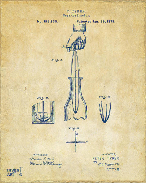 Wall Art - Digital Art - 1878 Cork Extractor Patent Artwork - Vintage by Nikki Marie Smith