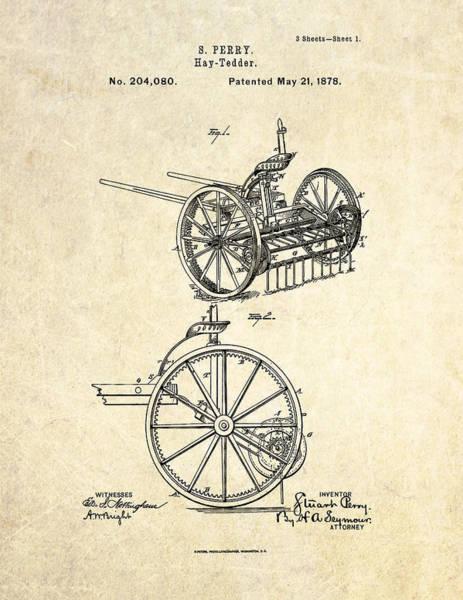 Farm Equipment Drawing - 1878 Hay Tedder Patent Art by Gary Bodnar