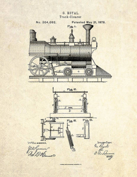 Vintage Patent Drawing - 1878 Railroad Track Clearer Patent Art by Gary Bodnar