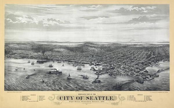 University Of Washington Wall Art - Photograph - 1878 Seattle Washington Map by Daniel Hagerman