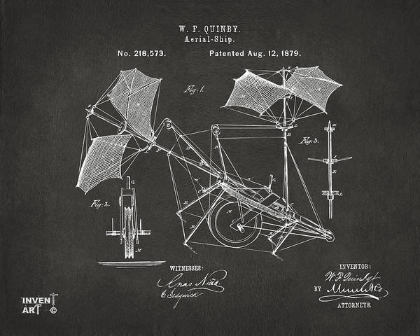 Digital Art - 1879 Quinby Aerial Ship Patent - Gray by Nikki Marie Smith