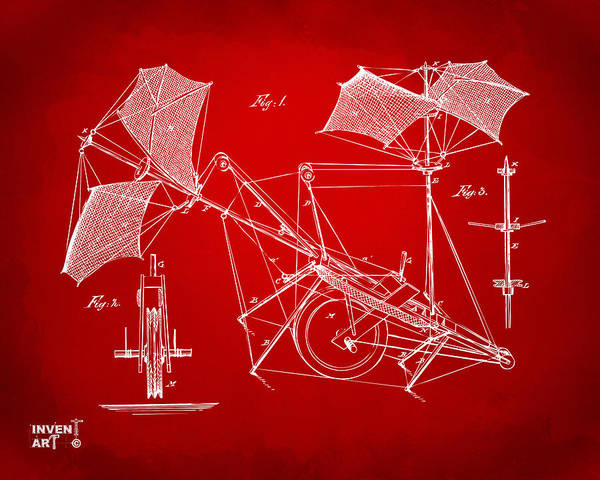 Digital Art - 1879 Quinby Aerial Ship Patent Minimal - Red by Nikki Marie Smith