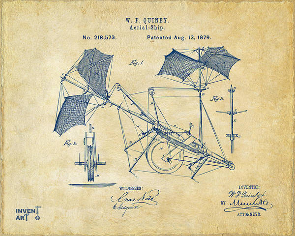Schematic Wall Art - Digital Art - 1879 Quinby Aerial Ship Patent - Vintage by Nikki Marie Smith
