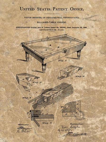 Pool Mixed Media - 1880 Billiard Table Patent by Dan Sproul